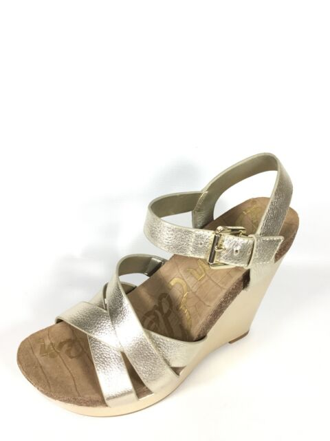 b4d8095dca7b Sam Edelman Nelson Women s Size 8 M Gold Metallic Leather Strappy Wedge  Sandals