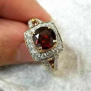 1.50Ct Round Cut Red Garnet Diamond Halo Engagement Ring 14K Yellow Gold Finish