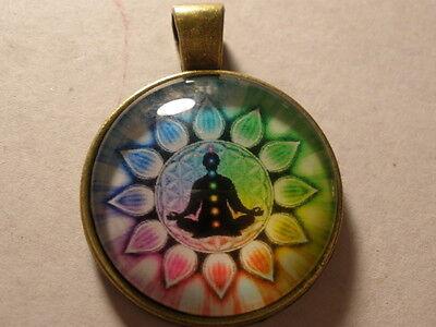 Flower of Life chakra Cabochon Glass Gold Plating Locket Pendant Necklace
