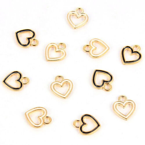 10PC Alloy White Black Small Hollow Love Heart Charms Pendant DIY Jewelry Making