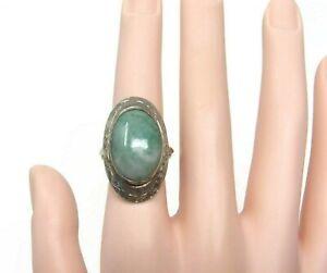 Sterling-Silver-Jade-Ring-Vintage-Etched-Sterling-Ring-Size-7-5