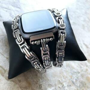 8mm Byzantine Chain Link Bracelet Band for Fitbit Versa 2 3 Lite and Sense