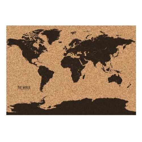 Gift Republic Korkplatte Weltkarte Atlas Matt Oberfläche mit 25 X Pins /& Rohr