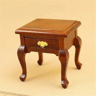 1:12 Dollhouse Miniature Doll Furniture Wooden Brown Bedside Cabinet Bed Table ^