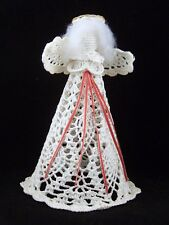"8.75"" HAND CROCHETED WHITE VINTAGE ANGEL CHRISTMAS TREE TOPPER DISPLAY DECOR"
