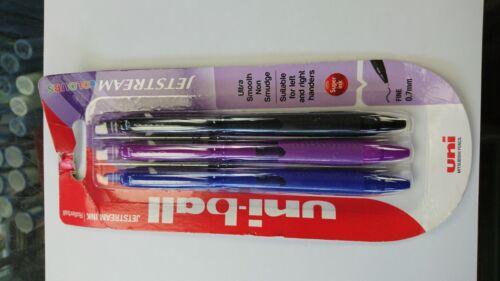 Blue//Black//Purple Uniball Jetstream Colours 0.7mm Pens SXN-150C Pack of 3