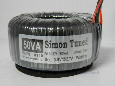 Handmade 50VA AC230V 0-18V x2 Simon Tuned Toroidal Transformer
