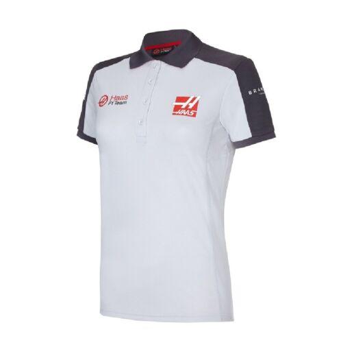 White /& Grey POLO Formula One 1 Womens Haas F1 Team USA ladies PoloShirt NEW