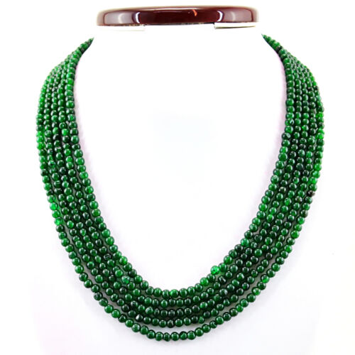 416.45 cts Earth mined 5 Strand Vert Émeraude Forme Ronde Perles Collier RS