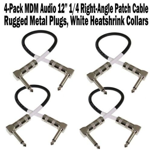 """4-Pack MDM Audio 12/"""" 1//4 Right-Angle Guitar Pedal Patch Cable Cord Black White"""