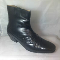 Cuban Heel Shoes Black Leather Heeled Boots Mens Inside Zip Ankle