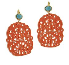 Kenneth Jay Lane Blue Top Coral Colored Carved Resin Drop Earrings
