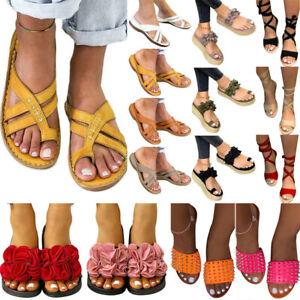 Womens Summer Flat Sandals Open Toe Sliders Slipper Bunion Corrector Beach Shoes