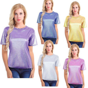 Women-Sparkly-Shiny-Metallic-Short-Sleeve-T-Shirt-Summer-Blouse-Tops-Loose-Tee