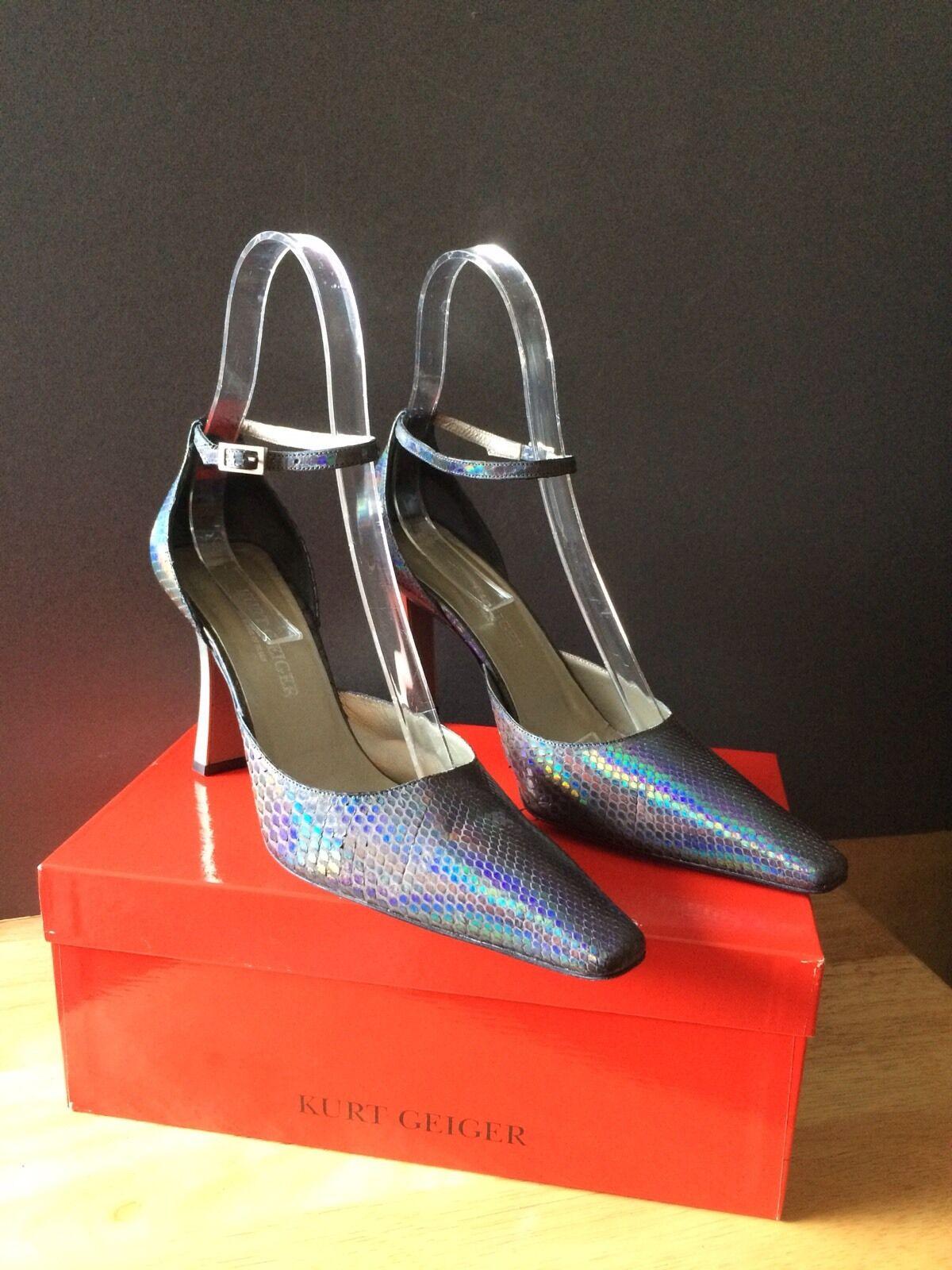 KURT GEIGER VINTAGE LADIES Schuhe 6.5 39 1/2 SLITHER GREY LIZARDPRINT COURTS