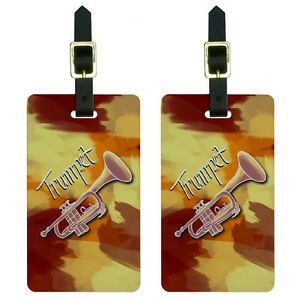 230f29754fa4 Details about Trumpet - Musical Instrument Music Brass Luggage Suitcase ID  Tags Set of 2