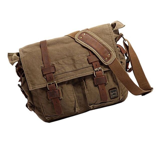 ff3c54e822 Berchirly Vintage Military Men Canvas Messenger Bag for 13.3-17 Laptop  L-14.7