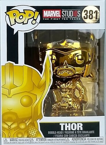 Funko Pop THOR 381 Marvel Studio 10th Anniversary Gold Chrome with Protector