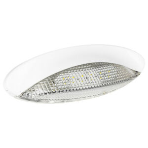 LED Euro Style RV Porch Light - White Cover and Clear Lens - Low Profile