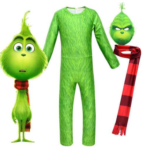 Kids Boys The Grinch Cosplay Costume Party Christmas Costume Jumpsuit Romper