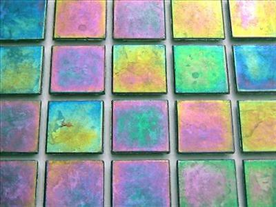 Iridescent Mosaic Tiles Tessera, Tesserae 20mm. 75 Tile Pack, Green