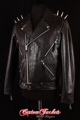 Men's GHOST RIDER Black METAL SPIKES Motorcycle Motorbike Biker Leather Jacket