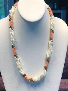 "7ba1c1dfbd024 Details about Vintage Mother of Pearl Coral Jade Necklace Triple Strand 22""  Signed Japan"