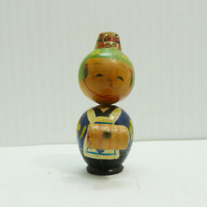 Vintage-Japanese-Small-kokeshi-doll-wooden-Mini-doll-Japan-2-25-034-Tall