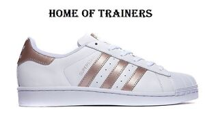 ... ADIDAS-SUPERSTAR-BLANC-Or-Rose-Baskets-Toutes-Les-