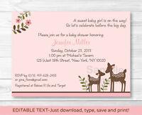 Pink Willow Deer Baby Girl Printable Baby Shower Invitation Editable Pdf