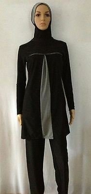 Muslim Full Cover Modest In Black Color Islamic Swimsuit Burkini 2-Piece Set