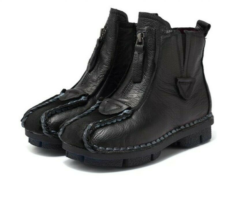 Womens Retro Side Zip Ethnic Style Round Toe Leather Soft Sole Ankle Boots News