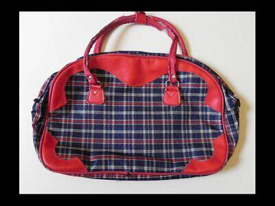 Amichevole Rosso & Blu A Scacchi Tartan Borsetta Vintage 70s Rara Da Viaggio/shopping Bag-mostra Il Titolo Originale