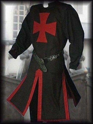 Medieval Red Templar Knight Tunic Crusader Surcoat Sleeveless Renaissance Black