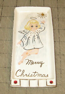 Vintage-Kreiss-Company-Christmas-Angel-6-034-x-2-5-034-Ceramic-ASHTRAY-Mid-Century