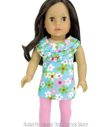 Flower Ruffle Top Pink Leggings 18 in Doll Clothes Fits American Girl