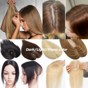 Top-Topper-Virgin-Human-Hair-System-Hairpiece-Black-Brown-Blonde-Wig-Replace-US