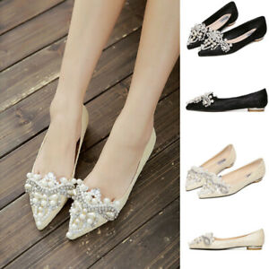 Womens-Pearls-Flats-Shoes-Pointed-Toe-Causal-Home-Ladies-Comfort-Ballerina-Shoes