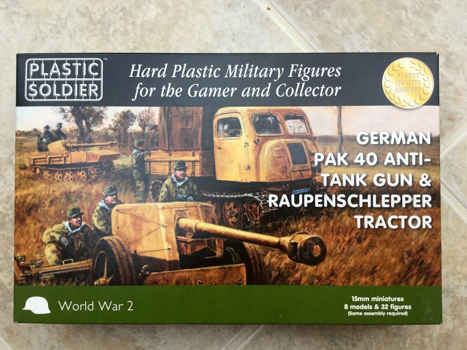 PLASTIC SOLDIER 15 MM WW II GERMAN PAK 40 ANTI-TANK GUN & TRACTOR NIB