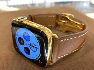 44mm Apple Watch Series 5 Custom 24k Gold Plated Stainless Steel Gps Cellular Ebay