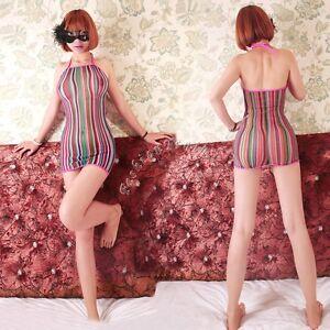 Sexy-Women-Lingerie-Rainbow-Fishnet-Babydoll-Halter-Chemise-Mini-Dress-Nightwear