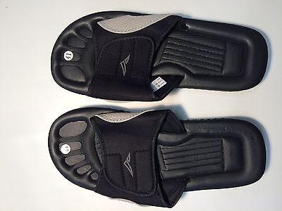 Para Hombre PDQ Negro y Azul Marino Flip Flop Bar Cierre Táctil Zapatos de la sandalia