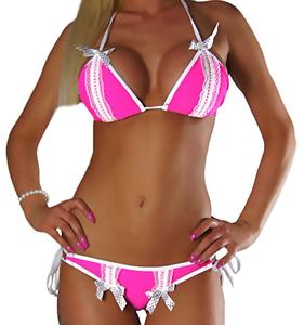 XS S M L Bikini da donna con allacciatura al collo rosa bianco push up Set Top Pantaloni PUSHUP TG