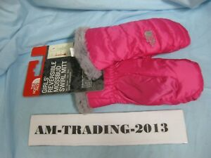 9149cb694 Details about THE NORTH FACE GIRLS REVERSIBLE MOSSBUD SWIRL MITTS YOUTH  LARGE - PINK
