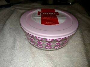 Pyrex Pink Hearts 4-Cup Storage Bowl & Cover Perfect for Valentine's Day