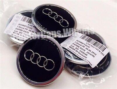 """2002-2017 Audi BLACK 69mm Center Caps 2.70/"""" Hub Caps 4B0601170A 4x"""