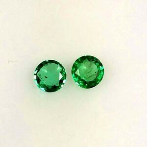 0-57ct-Natural-Emerald-Round-Top-Green-Good-Luster-Matching-Pair-Gems