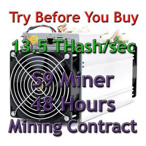 Bitmain Antminer S9 13.5 THash//sec Guaranteed 48 Hours Mining Contract SHA256