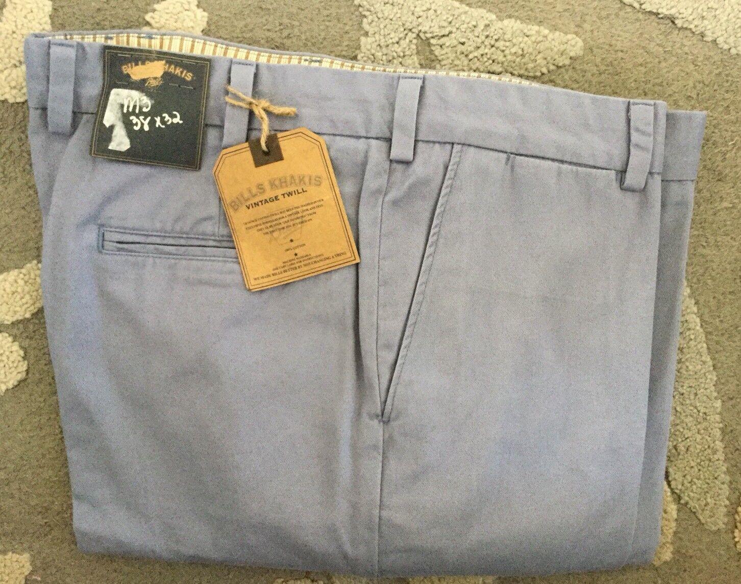 BRAND NEW-Bills khakis M3- 38X32 VINTAGE TWILL TRIM LIGHT blueE PLAIN