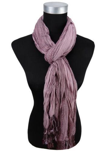 Gr 190 x 60 cm gecrashter Schal bordeaux rotviolett rosa gestreift mit Fransen